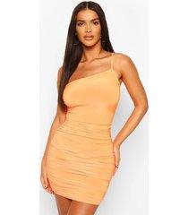 neon one shoulder ruched mini dress, orange