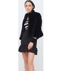 motivi cappotto corto in simil pelliccia donna nero