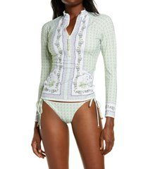 women's tory burch print half zip rashguard, size medium - white