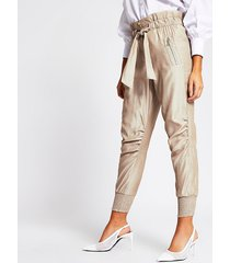 river island womens beige paperbag tie waist joggers