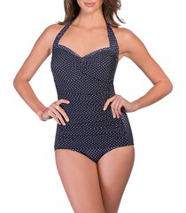polka dot one-piece halter swimsuit