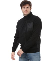 mens mixed media zip sweatshirt
