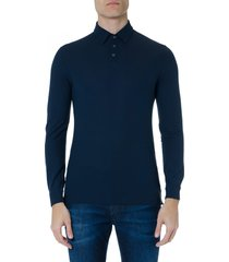 zanone blue cotton polo shirt