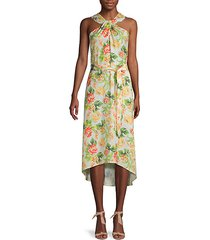 floral-print high-low dress