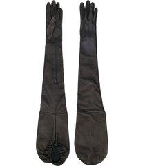 manokhi long zipped gloves - black
