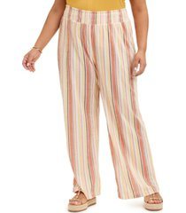 full circle trends trendy plus size striped wide-leg pants
