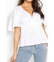 cotton ruched waist batwing sleeve blouse, white