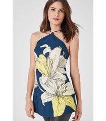 tunica flor tetra est silk tetra marinho e amarelo