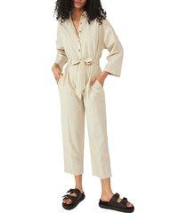 women's free people cameron tie waist jumpsuit, size medium - beige
