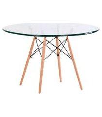 mesa de cozinha redonda com tampo de vidro well incolor e natural 90 cm