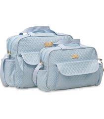 kit bolsas bebê maternidade 2 peças azul claro matelado - tricae
