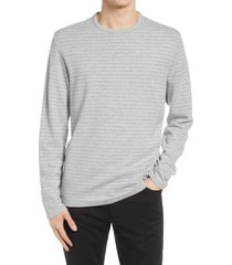men's vince feeder stripe long sleeve t-shirt, size x-large - grey