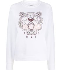 kenzo tiger embroidered sweatshirt - white