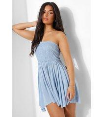 geplooide geweven strand jurk, dusty blue