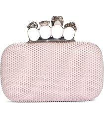 alexander mcqueen skull four ring studded leather box clutch - pink