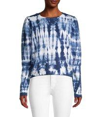 lea & viola women's tie dyed-print cotton sweatshirt - blue tie dye - size s