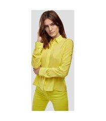 camisa de seda manga longa amarelo neon - 40