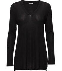 deep v jersey blouse t-shirts & tops long-sleeved zwart filippa k