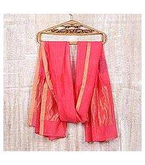 block-printed cotton and silk blend shawl, 'zari peacocks' (india)