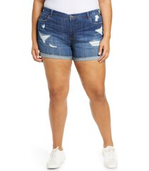 plus size women's blanknyc sunday drive deconstructed shorts, size 24w - blue