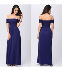 vestido sexy de playa para mujer vestidos largos largos con hombros descubiertos túnica sin tirantes sin tirantes vestidos de fiesta vestidos-azul