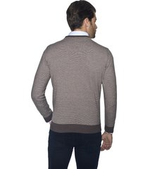 sweter belton w serek brąz