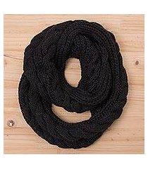 alpaca blend infinity scarf, 'black braid' (peru)