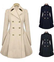yanlee ladies lapel windbreaker long winter parka coat trench outwear work jacke