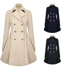 yanlee ladies lapel windbreaker long winter parka coat trench outwear work jacke