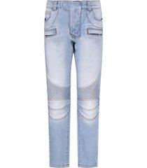 balmain light blue jeans with silver logo for boy