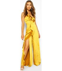 boohoo occasion satin ruffle detail jumpsuit, chartreuse