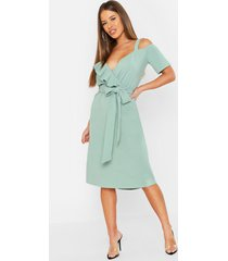petite plunge ruffle belt midi dress, sage