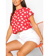 daisy print basic roll sleeve crop t-shirt, red