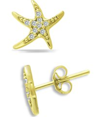 giani bernini cubic zirconia starfish stud earrings in 18k gold-plated sterling silver, created for macy's