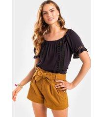 brandia crochet off the shoulder blouse - black