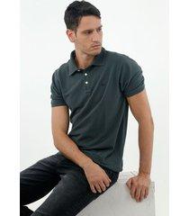 camiseta tipo polo de hombre, manga corta, 100% algodón, color verde