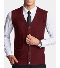 mens giacche unisex jacquard soild colore sleeveless slim fit gilet casual