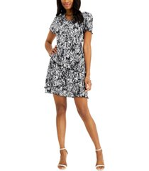 connected petite floral-print pleated tiered dress
