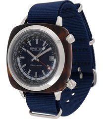 briston watches clubmaster worldtime 42mm watch - blue