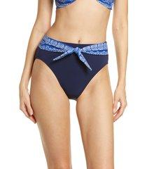 women's robin piccone isla high waist bikini bottoms, size large - blue