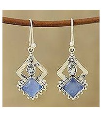 chalcedony and blue topaz dangle earrings, 'blue creativity' (india)