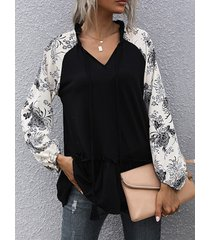 camicetta casual pieghettata con coulisse stampa floreale per donna