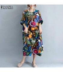 zanzea para mujer de la manga del batwing floral de la playa de vestir kaftan sun maxi vestidos de las señoras -verde