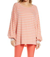 free people fp movement she's everything stripe shirt, size small in neon coral combo at nordstrom