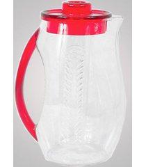 jarra em acrílico com suporte vazado para gelo 2,5l vermelho ky738 r