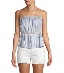 ruffle lace-inset cropped top
