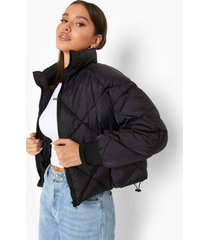 gewatteerde jas met ruitvormige stiksels en hoge kraag, black