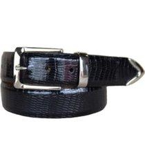 lejon men's le bernardin italian calfskin embossed teju lizard print leather dress belt