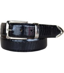 lejon men's le bernardin italian calfskin embossed teju lizard print leather dress belt