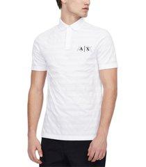 ax armani exchange men's echo regular-fit stripe logo pique polo shirt